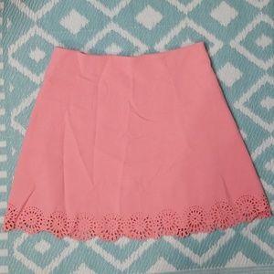Loft sz 10 Peachy Pink Laser Cut Aline Skirt